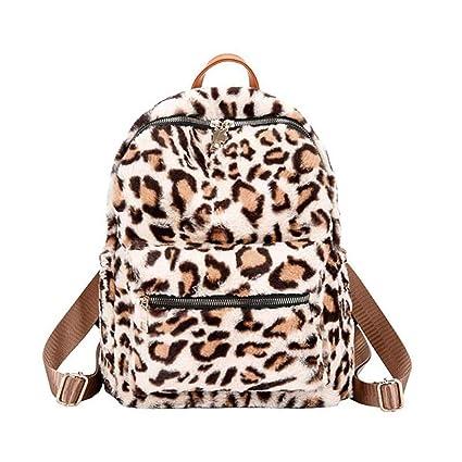 Casual Mujer Leopardo Mochila Estilo Bolsas de Viaje ...