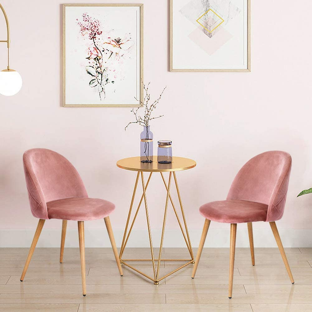Ofcasa 2 X Pink Velvet Dining Chair With Padded Seat Upholstered Living Room Chair With Metal Legs Kitchen Counter Chair Home Furniture Amazon Co Uk Kitchen Home