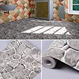 SimpleLife4U Grey Rock Stone Decorative Contact Paper Vinyl Shelf Liner Living Room Wall Sticker 17.7inch by 9.8 Feet