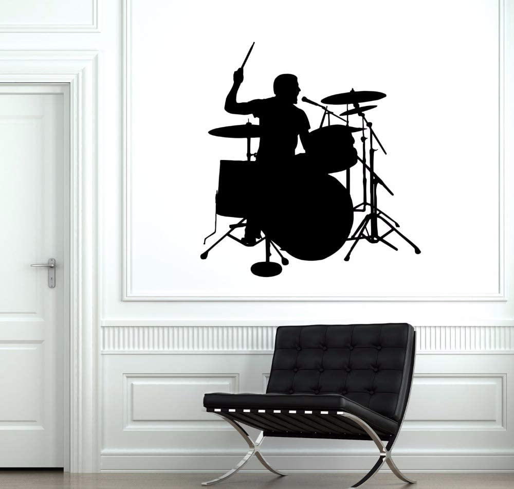 WWYJN Drummer Silhouette Wall Sticker Drum Player Wall Decal Music Room Decor Removable Vinyl Wall Art Mural Drum Wall Poster 42x45cm: Amazon.es: Hogar