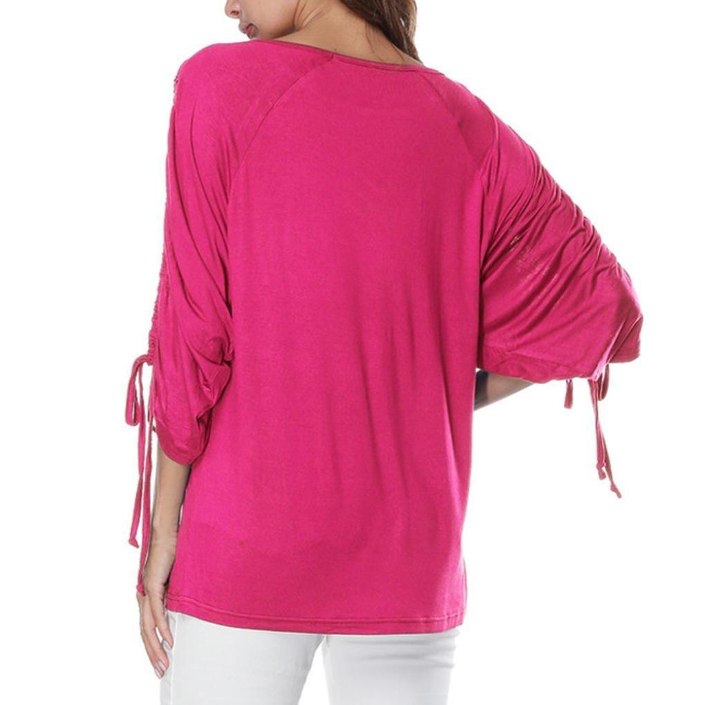 CUCUHAM Women O-Neck Bandage Half Sleeve Pure Color Tops Loose T-Shirt Blouse
