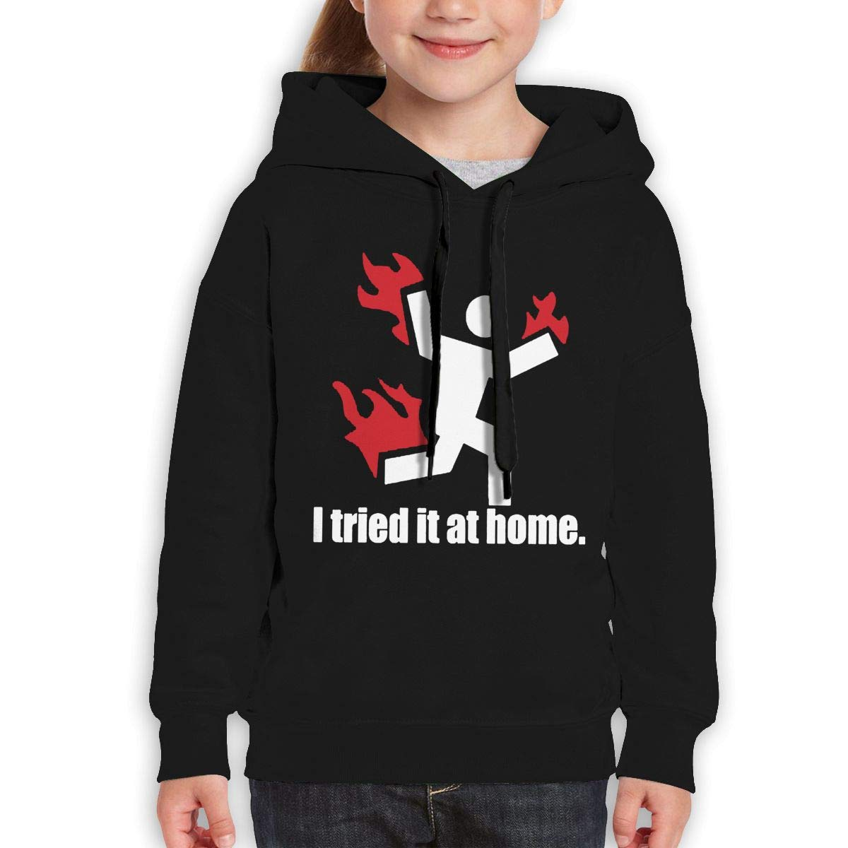 Boys Girls I Tried IT at Home Teen Youth Hoody Black