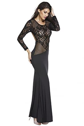 Black Lace Long Sleeve Backless Mermaid Prom Dress
