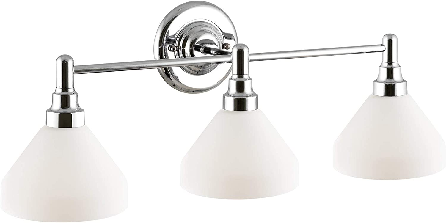 Kira Home Serene 26.5 Modern 3-Light Vanity Bathroom Light, Opal Glass Shades, Dimmable, Chrome Finish