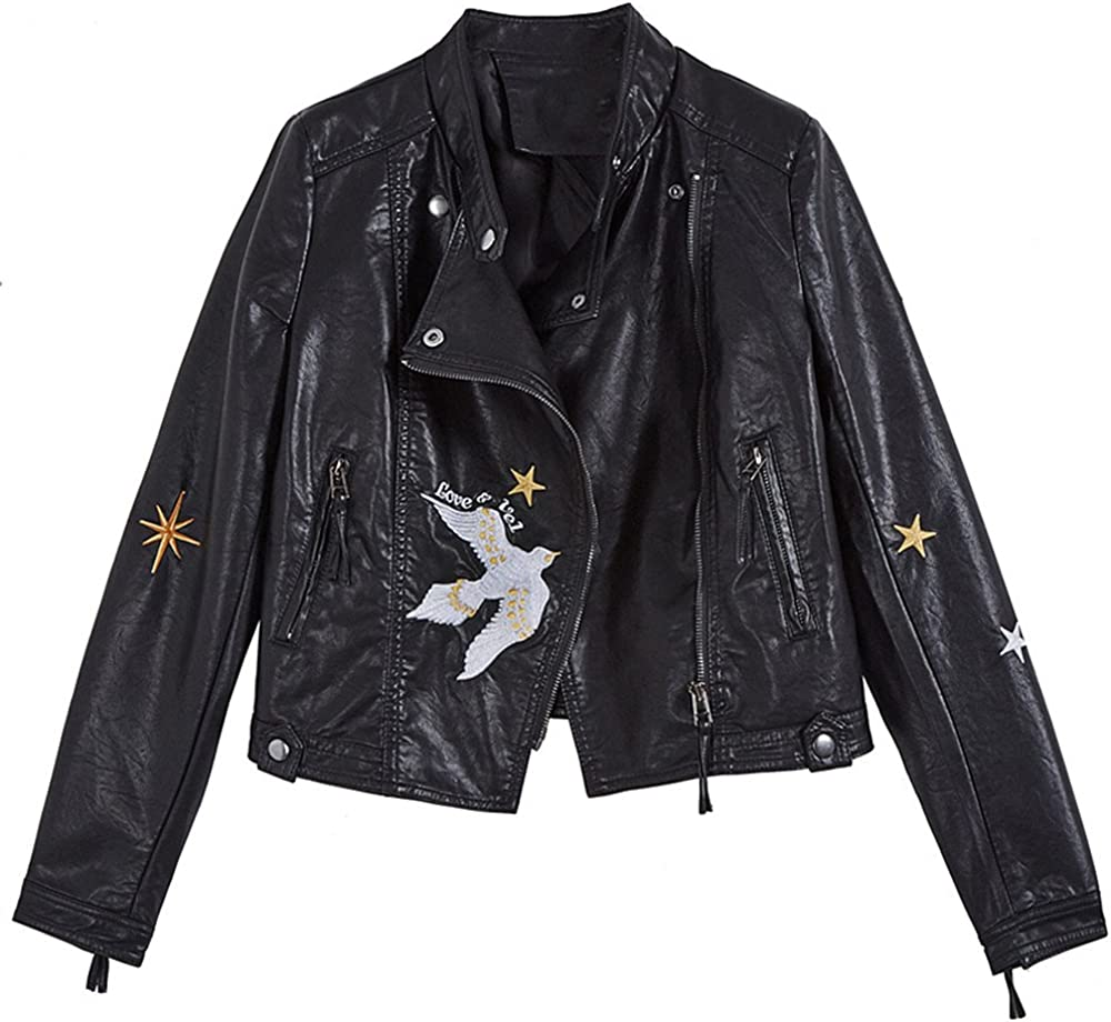 LJYH Womens New Fall Motorcycle Faux Leather Jacket with Flying Pigeon Embroidery