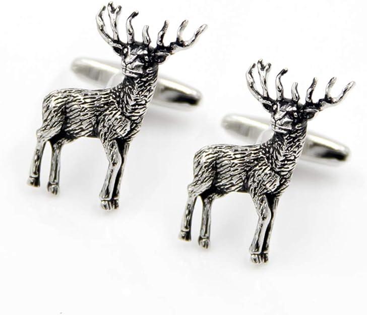 Antique Silver Christmas Rein Deer Cufflinks Animal Cuff links