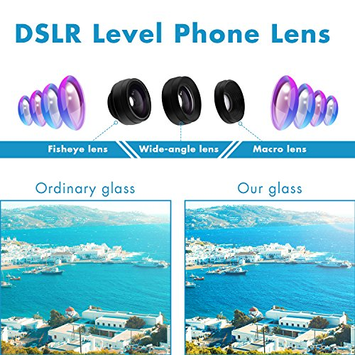 Phone Camera Lens 3 in 1, 20X Macro Lens, 198° Fisheye Lens, 0.62X Wide Angle Lens Clip On Universal HD Cell Phone Lens Kit Compatible Samsung iPhone6S/6Plus/6/Se/5/5S, Android Smartphones and More by COOLOO (Image #2)