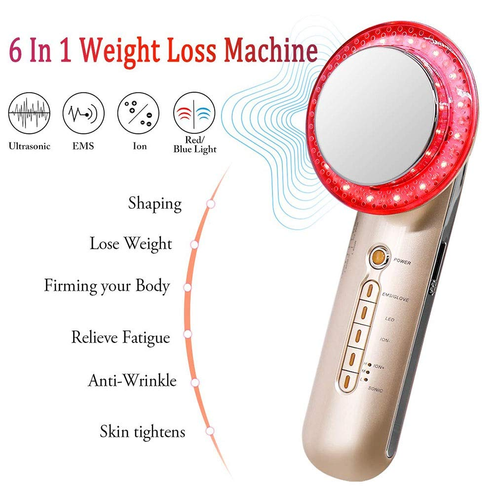 6 in 1 Weight Loss Machine,Multi-Functional Massager Fat Burning Machine,EMS Body Shaping Machine, Fat Remover Machine with Ion Blue Red Light Home Use Skin Care Beauty Device for Skin Tighten by Jeann