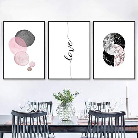 Sure Life Moderne Abstrait Rose Gris Géométrie Toile