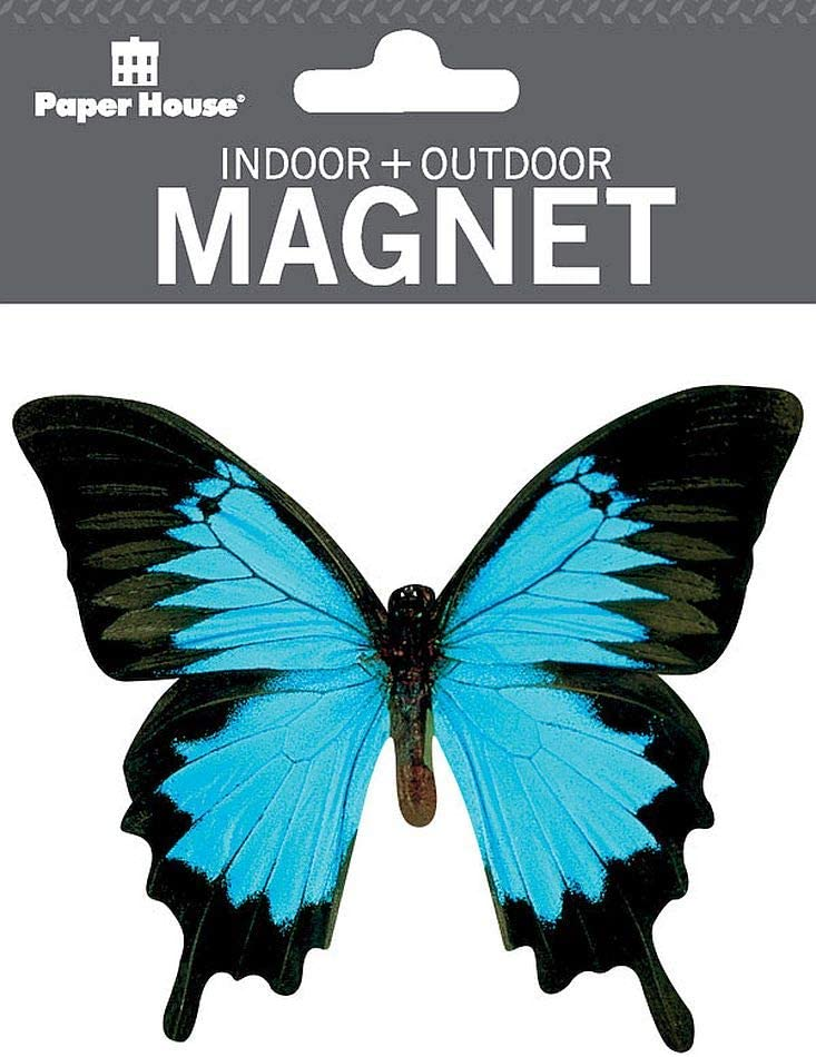 "Paper House Productions 3.7"" x 3.25"" Die-Cut Mountain Blue Butterfly Shaped Magnet for Cars, Refrigerators and Lockers"