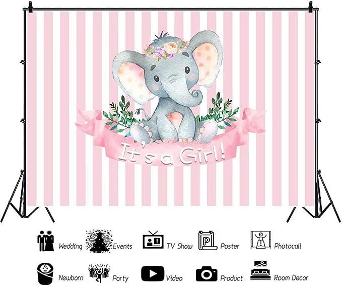Cassisy 2,2x1,5m Vinilo Elefante Telon de Fondo Baby Shower Tel/ón De Fondo Chica Elefante Fiesta de cumplea/ños Fondos para Fotografia Fiesta Beb/é Reci/én Nacido Photo Studio Props Photo Booth