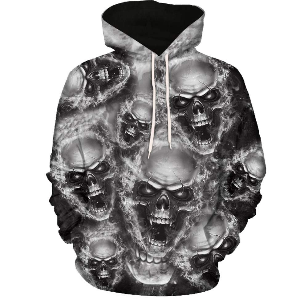 SMALLE ◕‿◕ Clearance,Mens 3D Printed Skull Pullover Long Sleeve Hooded Sweatshirt Tops Blouse by SMALLE (Image #1)