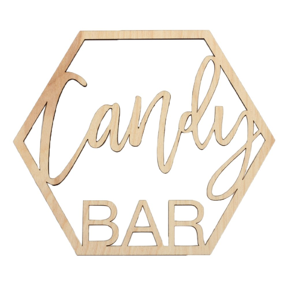 Koyal Wholesale Wood Candy Bar Sign, Wedding Display, Party Banner, Event Decorations For Wedding Engagement Bridal Shower Baby Shower Birthday Party (Candy Bar)