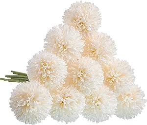 CQURE Artificial Flowers, Fake Flowers Silk Plastic Artificial Hydrangea 10 Heads Bridal Wedding Bouquet for Home Garden Party Wedding Decoration 10Pcs (White)…