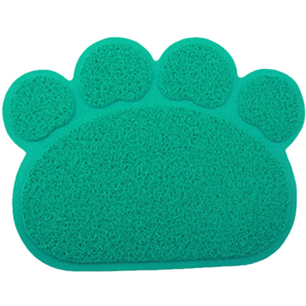 JOYJULY PVC Pet Dog Cat Puppy Kitten Dish Bowl Food Water Feeding Placemat, Non-slip Cat Litter Mat Paw Shape, Blue Large by JOYJULY (Image #1)