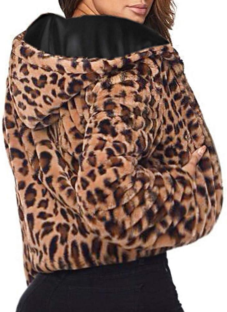 Rambling New Women Winter Leopard Hoodie Faux Fur Long Sleeve Cardigan Jacket Outwear Coat