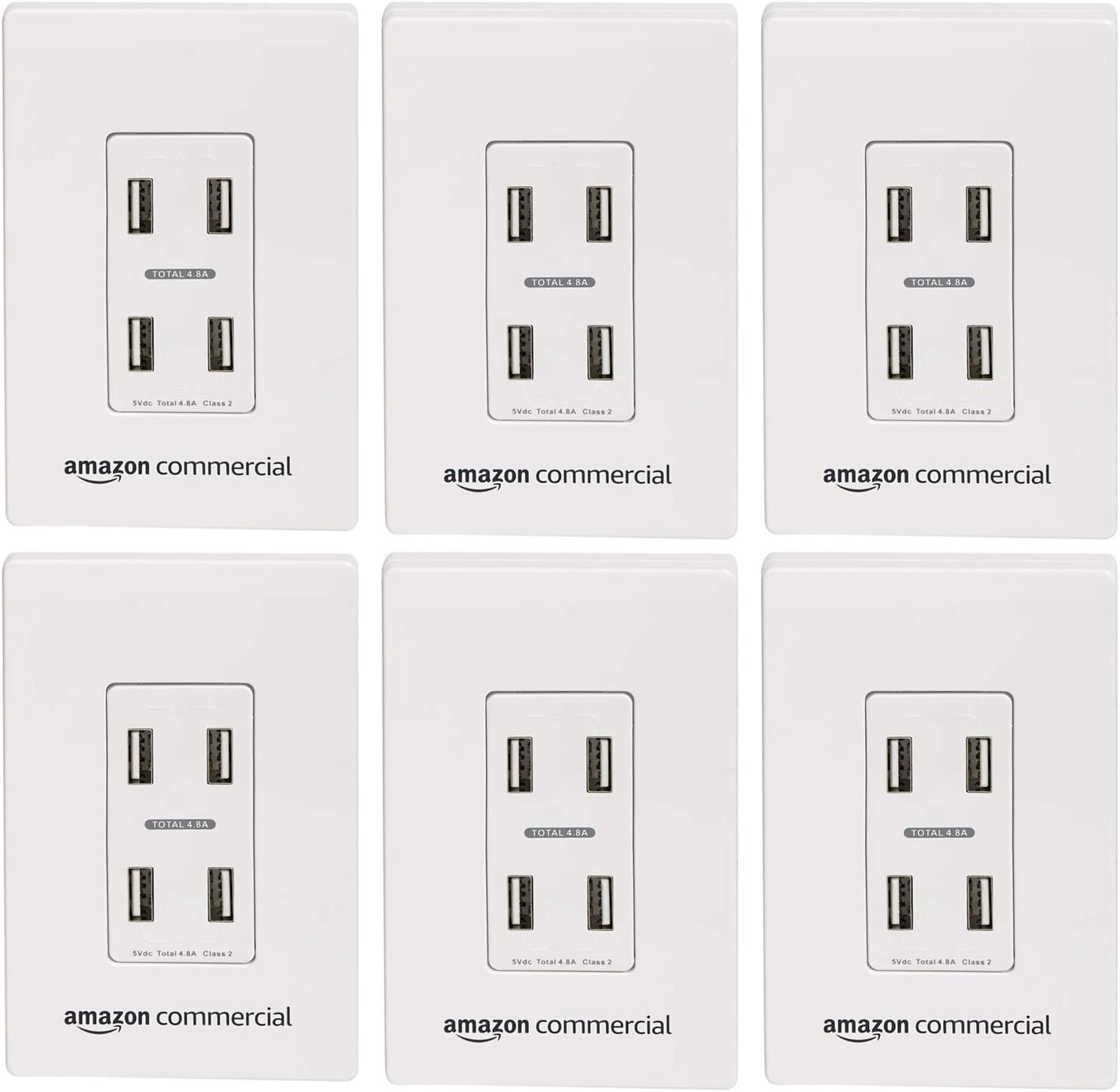 AmazonCommercial White, 6-Pack In Wall USB Charger