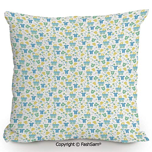 (FashSam Home Super Soft Throw Pillow Retro Newborn Items Stroller Rubber Duck Milk Bottle Pin Pyjamas Pattern Decorative for Sofa Couch or Bed(18