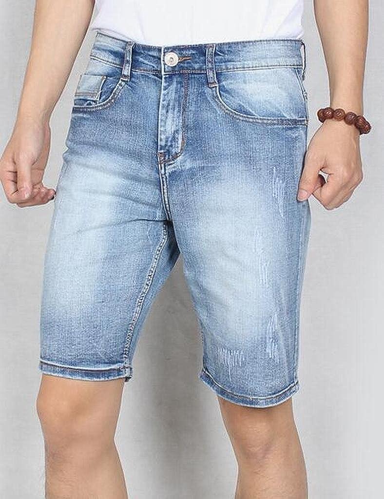 Fensajomon Mens Plus Size Casual Washed Straight Leg Slim Flat-Front Denim Shorts Jeans