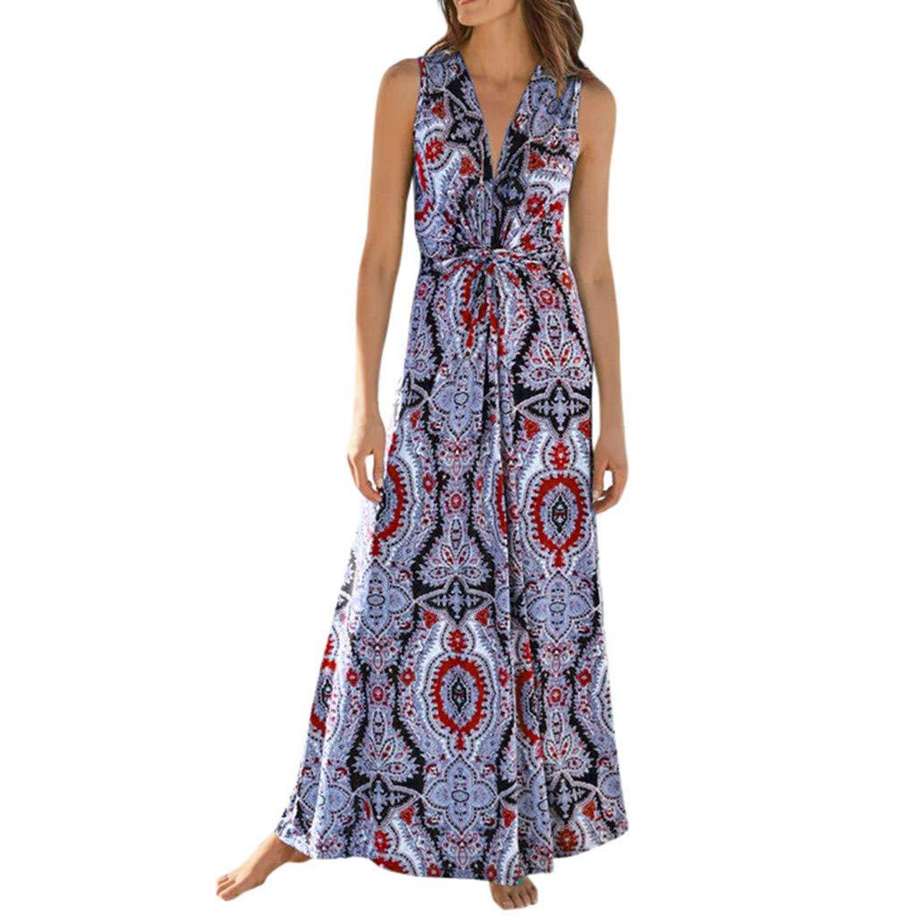Vestido de mujer de verano bohemio, con escote en V, sin mangas ...