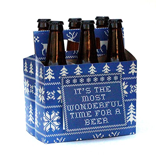 Set of 4 Christmas Beer Carriers - Choice of Styles