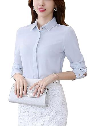 5043f5e0 DPO Women's Button Down Work Shirt Long Sleeve Lapel Collar Blouse at  Amazon Women's Clothing store: