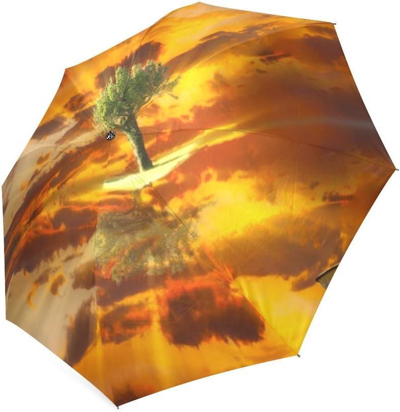 Custom Fight Between Fire and Water Compact Travel Windproof Rainproof Foldable Umbrella