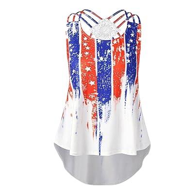 ????Vovotrade???? Plus Size Flag Print Tops Womens Sleeveless Bandage Vest Tank Blouse Pullover Shirt