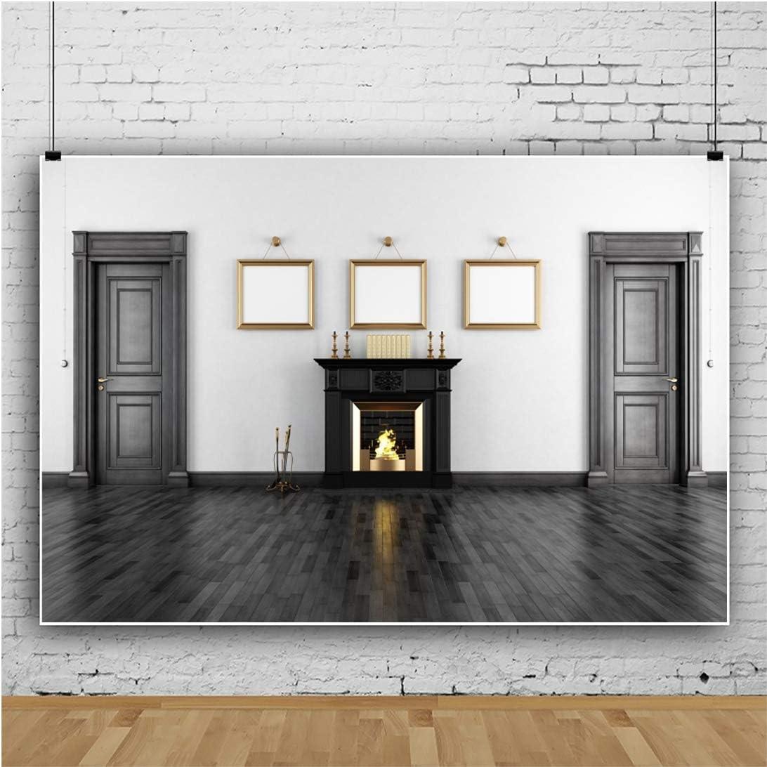 YongFoto 10x9ft Indoor Living Room Photography Backdrop Interior Wall Fireplace Decoration Background Black Black Wooden Door Floor Family Party Kids Adult Portrait Photo Studio Props