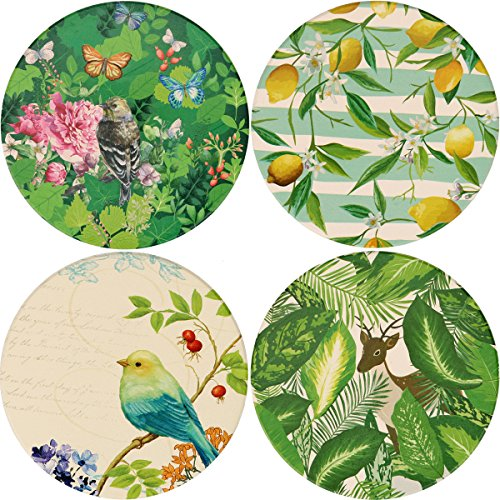 LogHog Absorbent Ceramic Stone Coasters for Drinks,Cute Coffee Mats with Cork Base,Prevent Furniture from Dirty and Scratched,Absorbing Hot/Cold Water Rings to Keep Your Bar/Table Clean,4