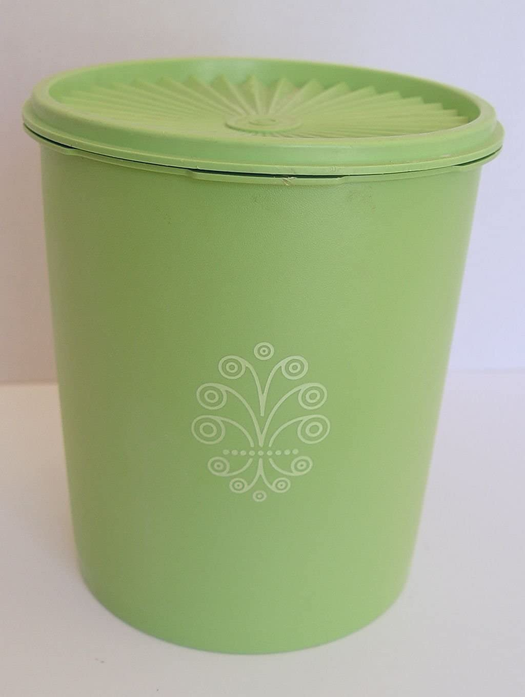 Vintage Tupperware Apple Green Servalier 12 Cup Canister with Matching Sunburst Lid 7.5 Tall