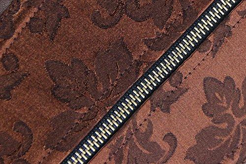 Charmian Women's Faux Leather and Brocade corsé Marrón