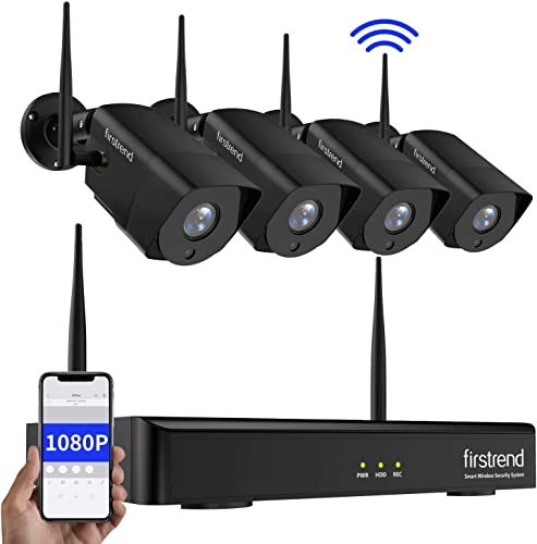 2019 Newest Wireless Security Camera System with Night Vision,Firstrend 8CH 1080P Home Security Camera System with 4pcs 1080P HD Wireless Outdoor Security Camera,No Hard Drive