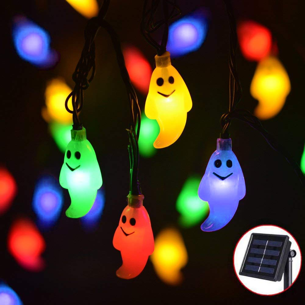 Ausein Halloween Ghost String Lights, 19.7ft 30 LED Solar String Lights Outdoor Decoration Rope Lights for Patio, Garden, Gate, Yard, Halloween Christmas Decoration, IP65 Waterproof, Multicolor