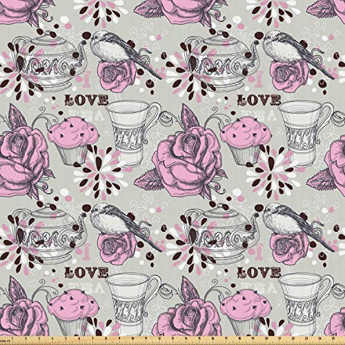 Ambesonne Tea Party Fabric by The Yard, Ornate Teacup and Pot with Romantic Roses Birds Valentines Day Themed Image, Microfiber Fabric for Arts and Crafts Textiles & Decor, 3 Yards, Pale Pink Dust from Ambesonne