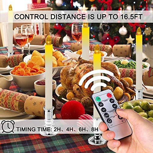 Christmas Window Candles Lights,14Pcs Battery Operated Flameless Xmas Taper Candles with 2 Remote Control and Timer,Removable Silver Holder, Suction Cup for Seasonal & Festival Celebration,Warm White