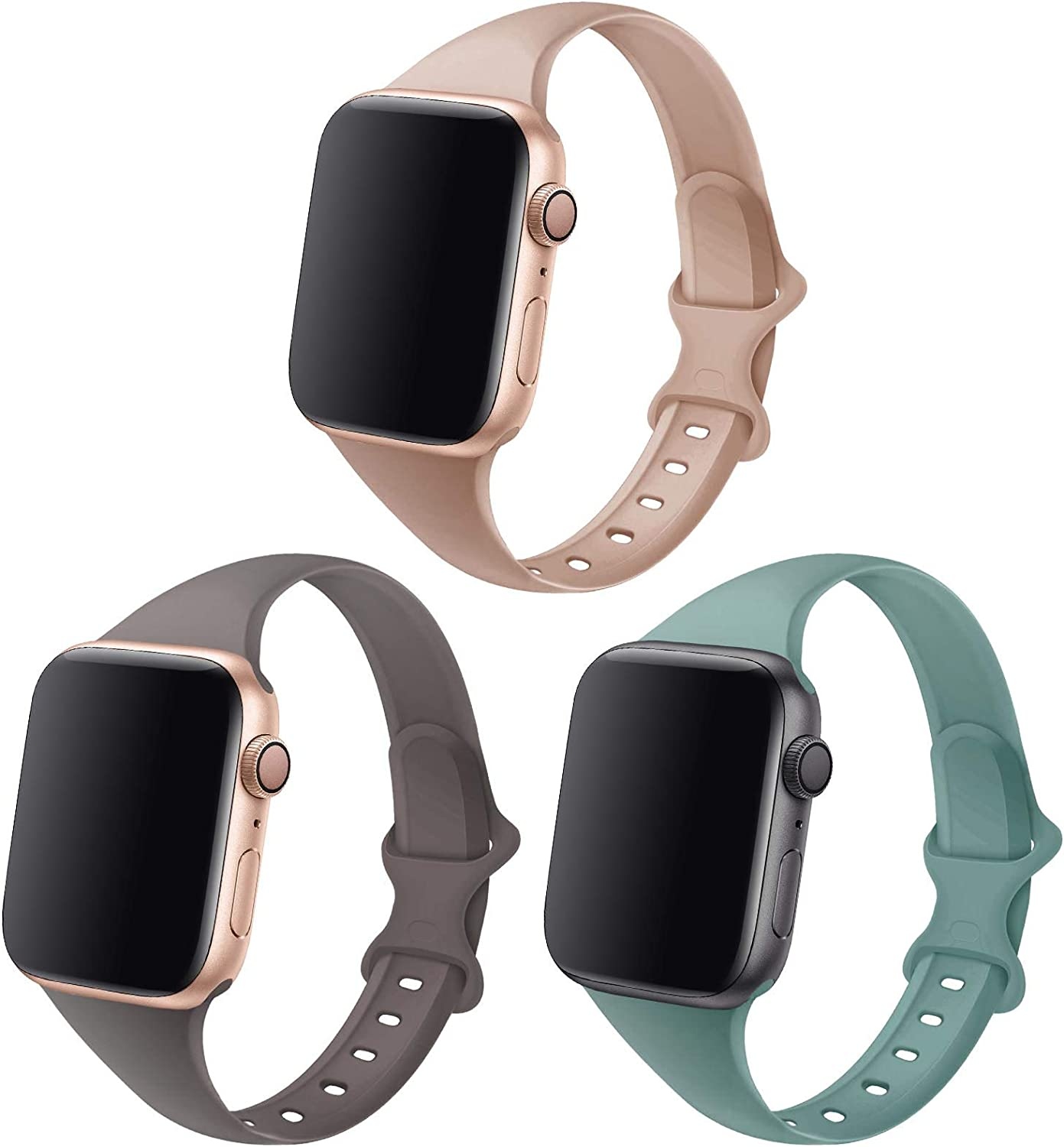 QRose Bands Compatible with Apple Watch 38mm 40mm 42mm 44mm, 3 Pack Slim Thin Narrow Replacement Silicone Sport Accessory Strap Wristband for iWatch Series SE 1/2/3/4/5/6 Women Men