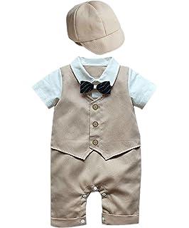 36473972197a iEFiEL Newborn Baby Boys  2PCS Gentleman Suit Bowtie Striped Romper ...