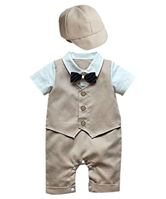 810162bfc iiniim Baby Boy Wedding Tuxedo Formal Suit Romper Bodysuit Outfit ...