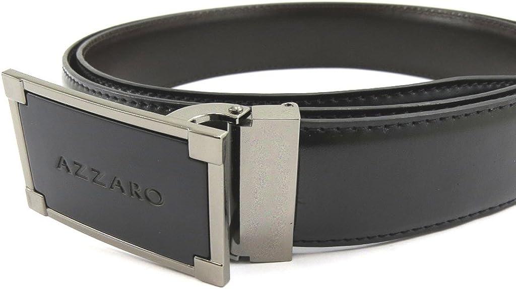 Leather belt Azzaro black brown.