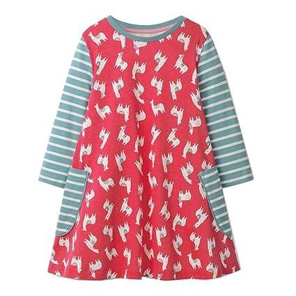 289443776001f Robes Filles Longue Manche Coton Mode Enfants Imprimée Poche Rayé de  Automne Hiver T-shirt
