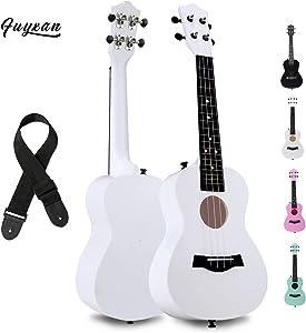 FUYXAN Concert Ukulele with Accessories Nylon Strings Strap, 23 Inch White Ukulele for Beginners Kids, Hawaiian Guitar Starter Uke Musical Instrument for Gift