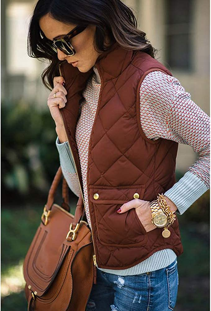 VERYCO Women Quilted Gilet Vest Body Warmer Zip Up Sleeveless Jacket Coat Top Pockets