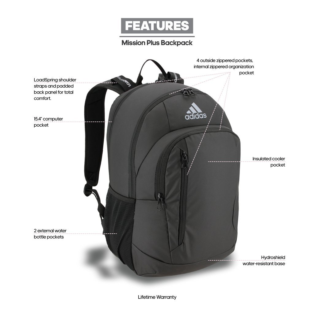 954651fc77 Adidas Mission Unisex Polyester Backpack (Onix Jersey Black)  Amazon.in   Bags
