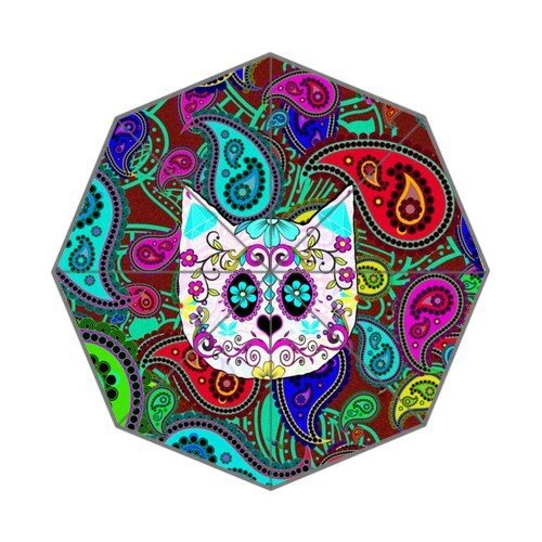 Custom Auto Foldable Umbrella with Hipster Cat Sugar Skull Teal Pink Retro Paisley Pattern Background