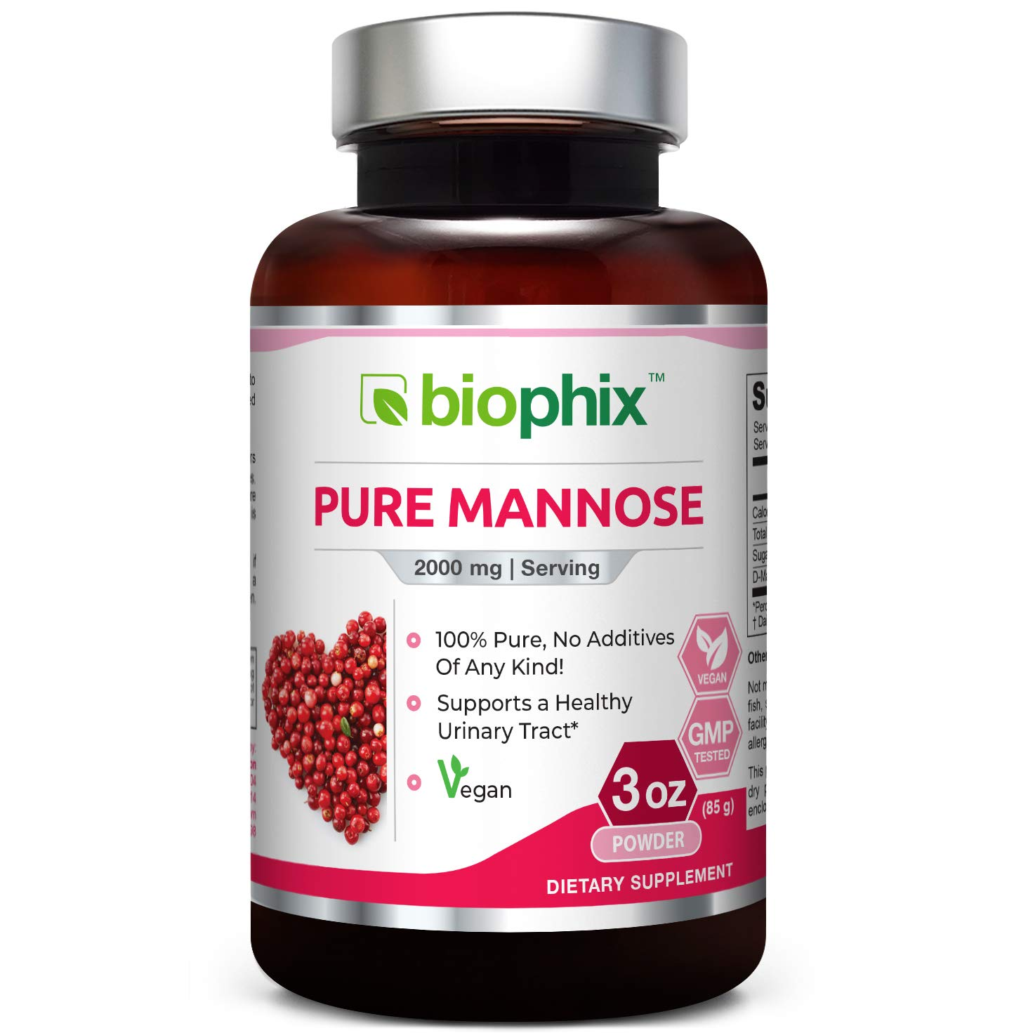 Pure Mannose 100 Percent Powder 2000 mg 3 oz 85 Grams - Supports Urinary Bladder Tract Health