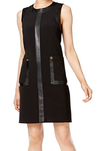 Calvin Klein Womens Mixed Media Faux Leather Party Dress