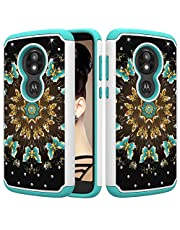 for Moto E5 Play Glitter Phone Case,QFFUN Soft Silicone Hard Plastic Back Hybrid Double Layer 2 in 1 Bling Crystal Diamonds Anti-Scratch Protective Cover with Screen Protector - Green Butterfly