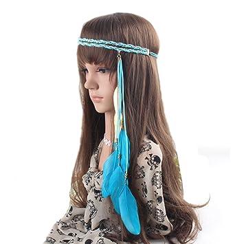 6e19286494555d Amorar Feder Hippie Stirnband Zubehör, Perlen geflochten Strand Haar Kopf  Band Stirnband Prop Kopfschmuck, Masken Kopfschmuck Festival Haar  Dekoration ...