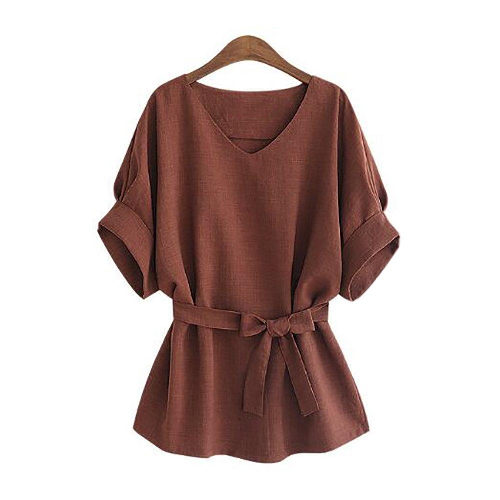 QZUnique Women's Plus-Size Pure Color Fashional Slim-Fit Casual Blouse Wine Red US XL